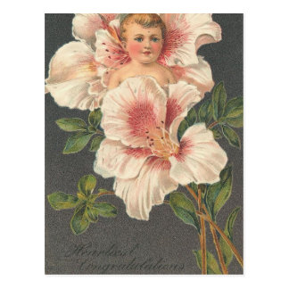 El niño de flor más caluroso de la enhorabuena postal