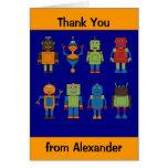 El niño de los amigos del robot personalizado le a tarjeta pequeña