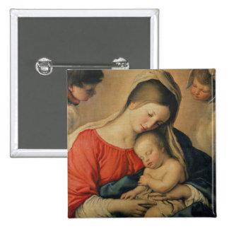 El niño durmiente de Cristo (aceite en lona) Pin Cuadrada 5 Cm