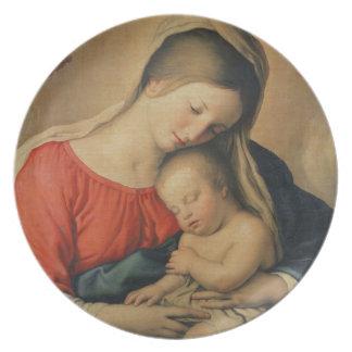 El niño durmiente de Cristo (aceite en lona) Plato De Cena