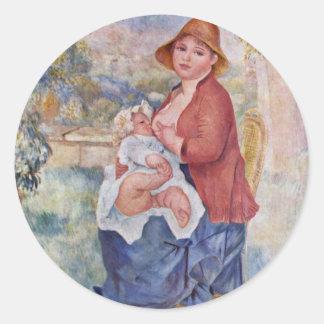 El niño en el pecho (maternidad), pegatina redonda