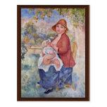 El niño en el pecho (maternidad), postal