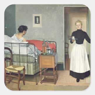 El niño enfermo 1892 pegatina cuadrada