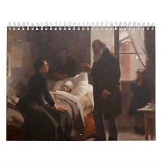 El Niño enfermo by Arturo Michelena 1886 Wall Calendar