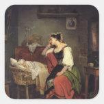 El niño enfermo calcomania cuadradas