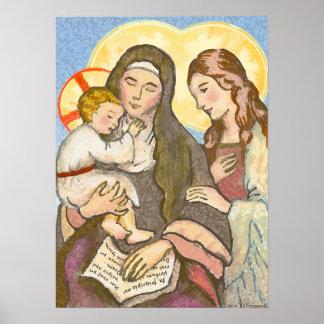 El niño Jesús con su madre y abuela Póster