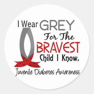 El niño más valiente sé la diabetes juvenil pegatina redonda