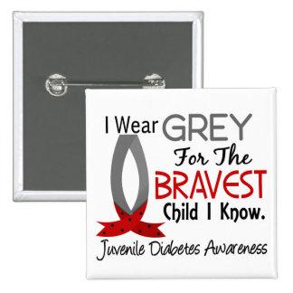 El niño más valiente sé la diabetes juvenil pin cuadrado