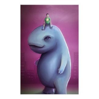 El niño monta al monstruo adorable gigante azul papeleria de diseño