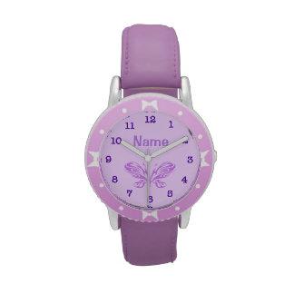 El niño púrpura PERSONALIZADO de la mariposa mira Reloj De Mano