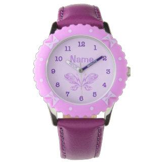 El niño púrpura PERSONALIZADO de la mariposa mira Relojes De Mano