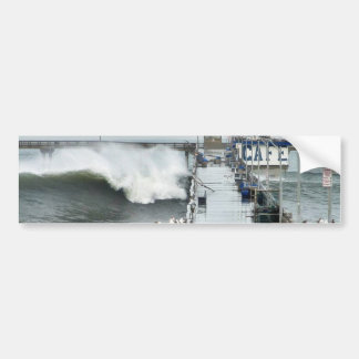 El Nino Waves Piers Ocean Seagulls Car Bumper Sticker