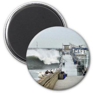 El Nino Waves Piers Ocean Seagulls Fridge Magnets