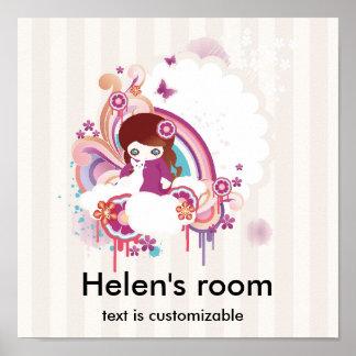 El niño y el gato, el sitio de Helen, texto es ada Poster