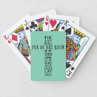 Él no está aquí para él ha subido como él dijo baraja cartas de poker