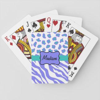 El nombre blanco de la piel del leopardo de la cartas de póquer