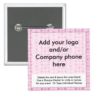 El nombre comercial del acontecimiento rosado de l pin cuadrada 5 cm