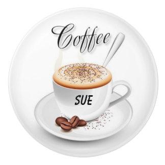 El nombre de encargo Café-Inspiró botones de Pomo De Cerámica