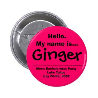 El nombre de Hello.My es jengibre Pin Redondo De 2 Pulgadas