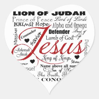 El nombre de Jesús Calcomanía De Corazón