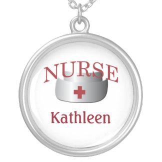 El nombre de la enfermera cuida Neklace de encargo Colgante Redondo