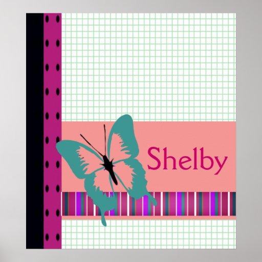 El nombre de la mariposa y del papel cuadriculado  posters