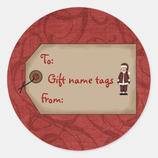 El nombre del regalo de la colección del navidad pegatina redonda