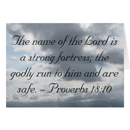 El nombre del señor es una fortaleza fuerte; dios tarjeta de felicitación