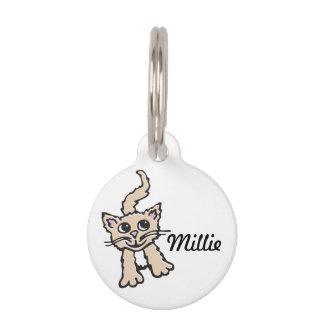 El nombre gráfico del gato y los detalles perdidos placa de mascota