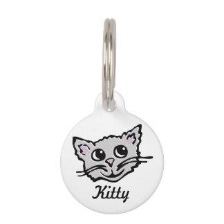 El nombre gris gráfico del gato y los detalles per placa para mascotas
