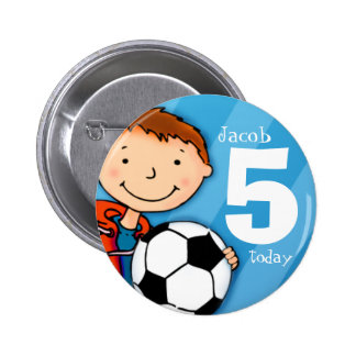 El nombre y la edad 5 del fútbol/del fútbol aboton pin redondo 5 cm