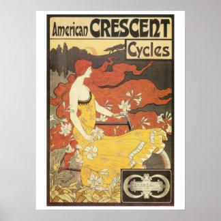 El nouveau del arte del vintage monta en bicicleta póster