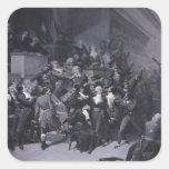 El noveno Thermidor, c.1840 Pegatina Cuadrada