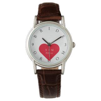 El novio de encargo de la novia nombra el reloj de