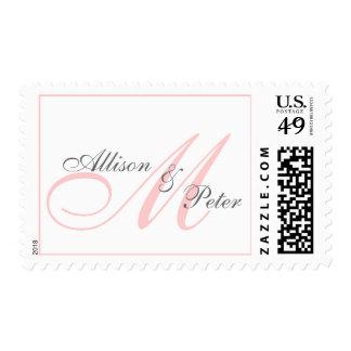 El novio de la novia del monograma del boda nombra sello postal
