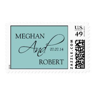 El novio de la novia del negro azul nombra timbre postal