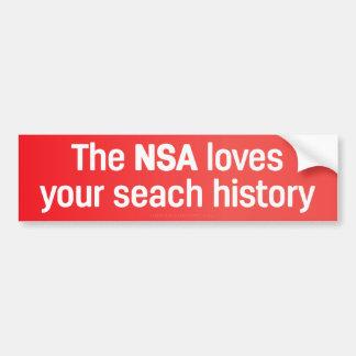 El NSA ama su historia de la búsqueda Pegatina Para Coche