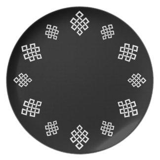 El nudo del tejedor céltico, cena/placa del fiesta plato