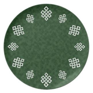 El nudo del tejedor céltico, cena/placa del fiesta plato de comida