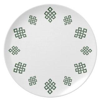 El nudo del tejedor céltico, cena/placa del fiesta platos