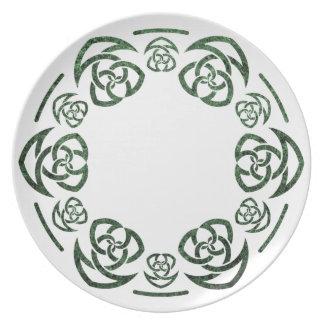 El nudo del tejedor céltico, torcido, cena/placa d plato