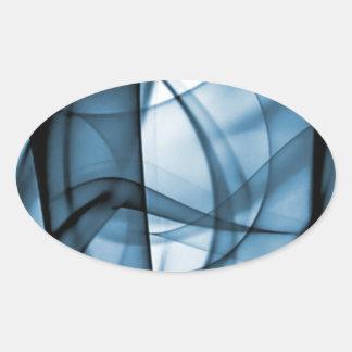 El nuevo arco iris agita la colección - onda azul pegatina ovalada