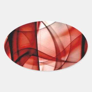 El nuevo arco iris agita la colección - onda roja pegatina ovalada