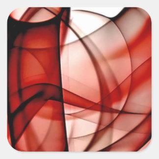 El nuevo arco iris agita la colección - onda roja pegatina cuadrada