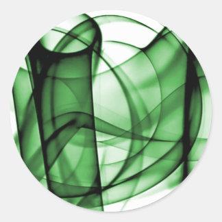El nuevo arco iris agita la colección - onda verde pegatina redonda