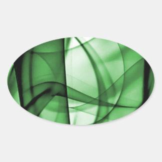 El nuevo arco iris agita la colección - onda verde pegatina ovalada