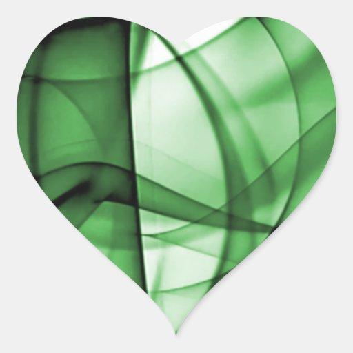 El nuevo arco iris agita la colección - onda verde pegatina en forma de corazón