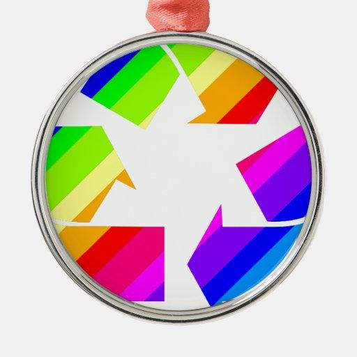 El nuevo arco iris recicla adorno navideño redondo de metal
