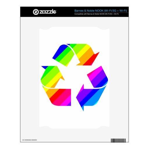 El nuevo arco iris recicla NOOK calcomanía