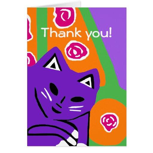 El nuevo arte púrpura del gato le agradece tarjeta